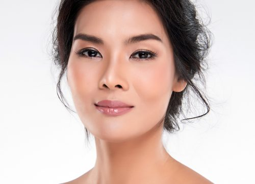 Close-up on a middle-age models face
