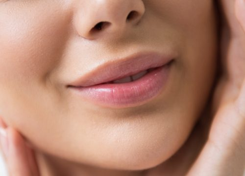 Close-up on a woman's mouth and lips