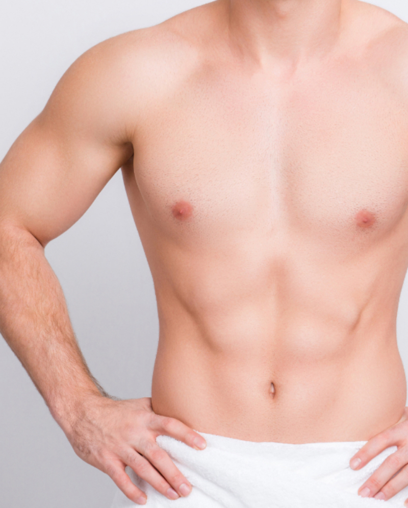 Man's hairless chest after laser hair removal