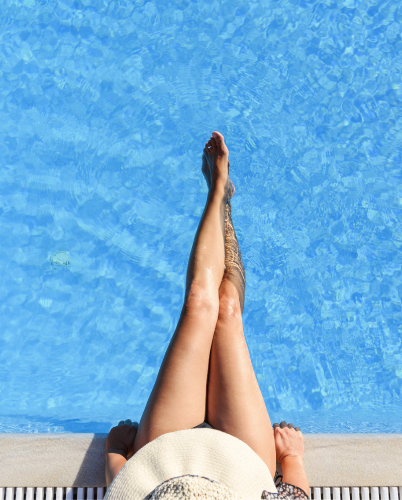 Woman's legs at the pool