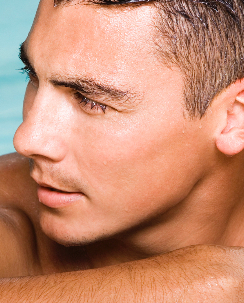 Close-up on a man's face and under-eye area