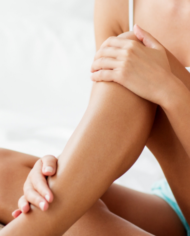 Unwanted hair on a woman's legs